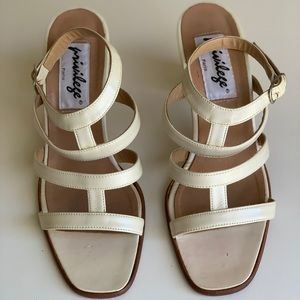 Privilege Shoes - Vintage Ivory Patent Leather Privilege Sandals 7
